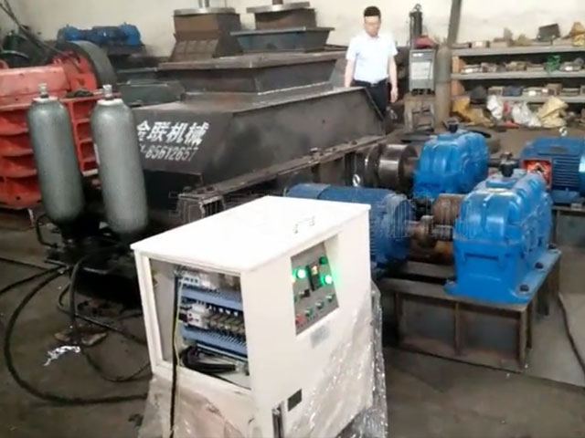 大型液压对辊破碎机生产线试机
